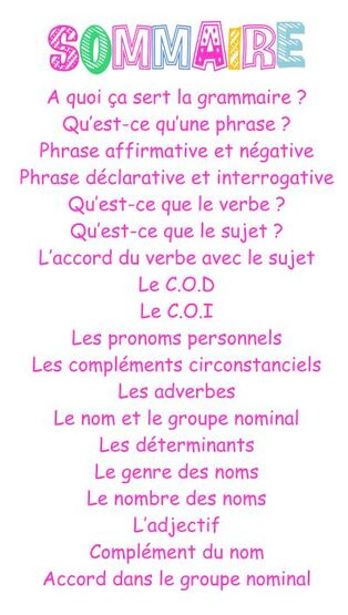 Leçons grammaire CE2
