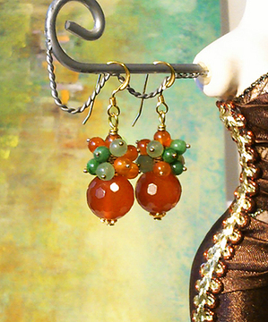 Boucles Grappe Orange-Vert, Pierre de Cornaline, Jade, Jaspe Vert / Plaqué Or 14 kt Gold filled