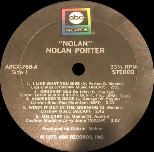 "Nolan Porter : Album "" Nolan "" ABC Records ABCX 766 [US]"