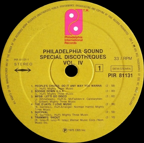 "Various Artists : Philadelphia Sound "" Special Discotheques Volume 4 "" Philadelphia International Records PIR 81131 [ FR ]"