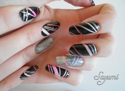 Nail Art Pink Rainbow