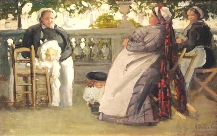 Alice Dannenberg (1861-1948). Peintre française d'origine russe. Les nounous du jardin du Luxembourg.