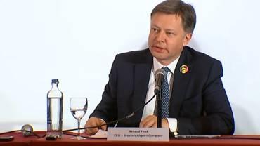 Arnaud Feist, CEO de Brussels Airport lors de la conférence de presse de ce samedi où la réouverture de l'aéroport pour ce dimanche à été annoncée.