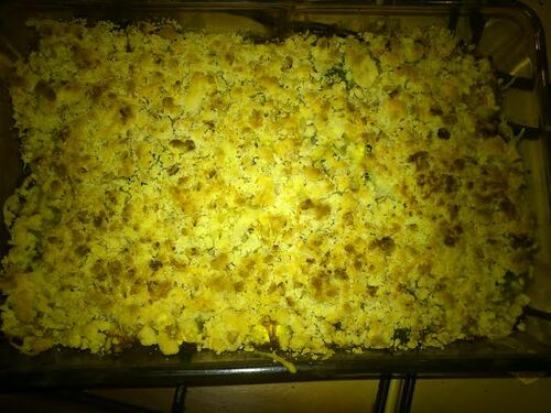 Improvisation : crumble saumon courgettes au curry