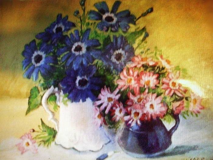 Les 2 vases de fleurs