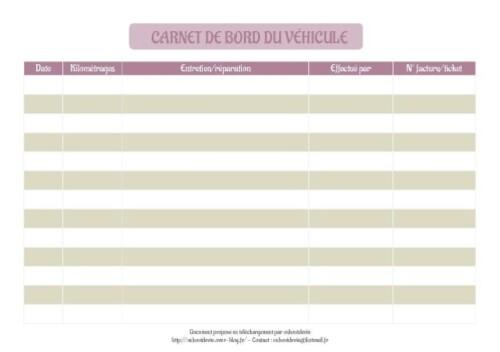 carnet de bord du véhicule