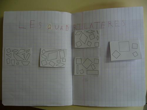 Découverte, affichage et leçon sur les quadrilatères