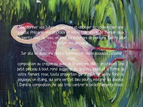 Dessin et peinture - vidéo 3504 : Comment peindre un flamant rose ? - acrylique ou huile.