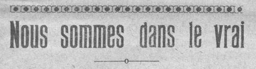 Nous sommes dans le vrai (Le Fraterniste, 1er février 1927)