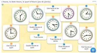 Lire l'heure - jeux en ligne - niveaux 2 et 3