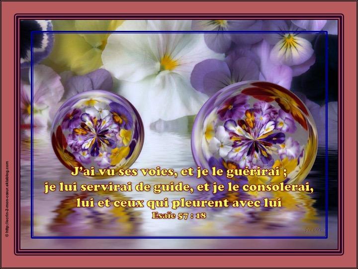Je le guérirai, je lui servirai de guide, et je le consolerai - Esaïe 57 : 18