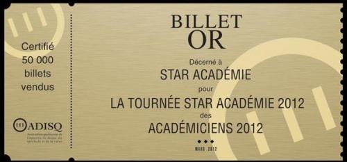 Billet d'or pour la tournée Star académie
