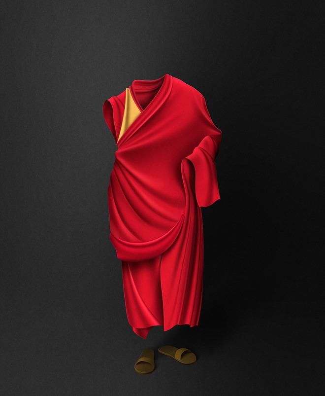 paper art sculpture dalai lama