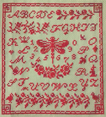 Midnight stitching, Dragonfly sampler (Karine)
