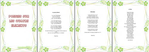 français : poésies CM les quatre éléments