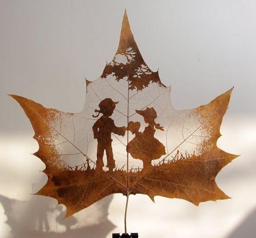 dessins feuilles morte automne 03 Des dessins sur des feuilles mortes  divers bonus art: