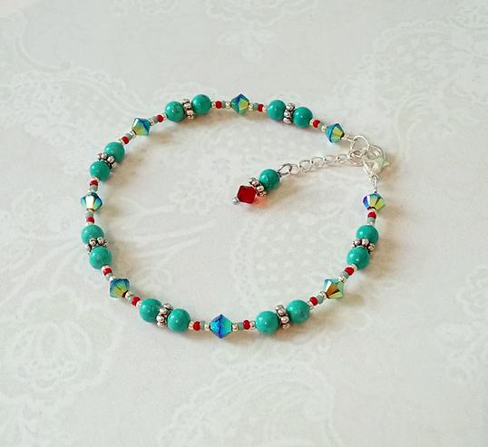 Bracelet boules pierre de turquoise 4mm, Miyuki rouge et cristal de Swarovski / Pl. argent