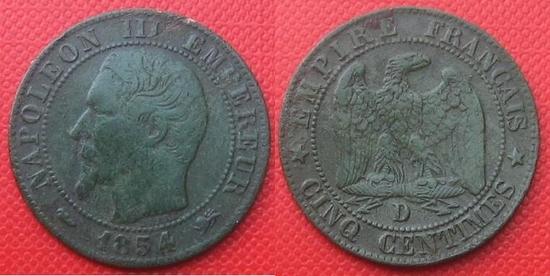 5 centimes Napoléon 3   1854  atelier D