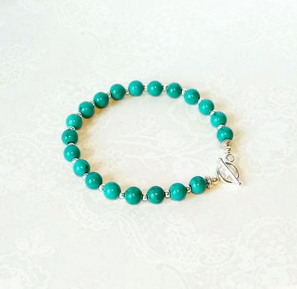 Bracelet Pierre Turquoise de Chine stabilisée 20 perles 6 mm / Fermoir Toggle Argent 925