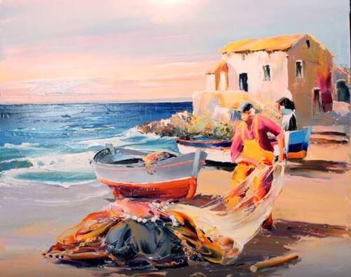 Dessin et peinture - vidéo 2069 : De la peinture à l'huile et un couteau, pour la réalisation des préparatifs d'une pêche côtière.
