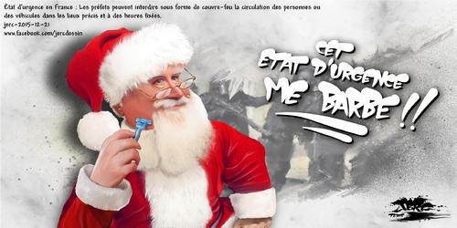 dessin de JERC du lundi 21 décembre 2015 caricature père noël, un barbu c'est un barbu trois barbus c'est des ... www.facebook.com/jercdessin