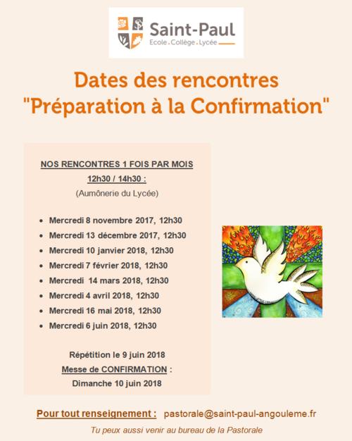 """Dates des rencontres """"Préparation à la Confirmation"""" 2017/2018"""