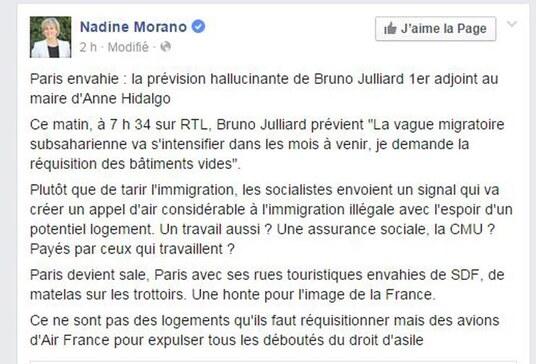La capture d'écran du post de Nadine Morano.