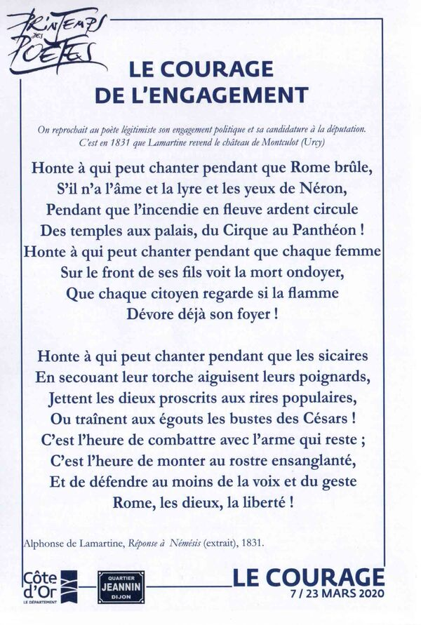 """""""Le courage en poésie"""", une publication des Archives Départementales de la Côte d'Or...."""