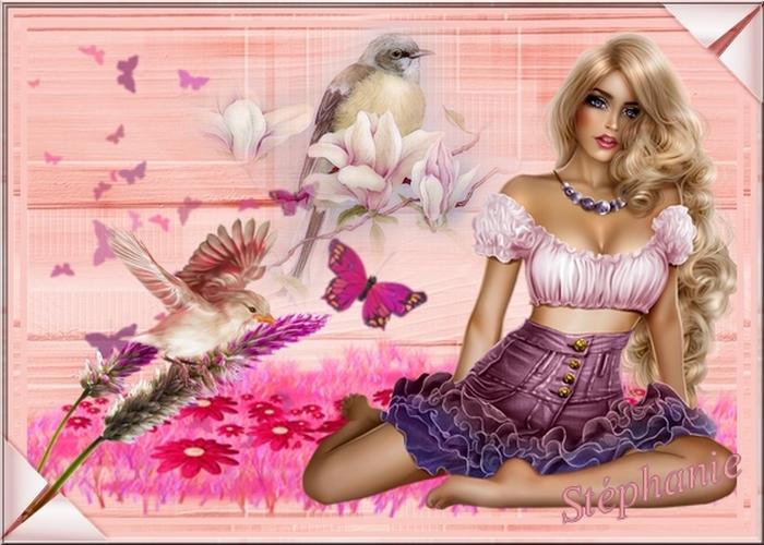 deux création sur des oiseaux et une belle femme