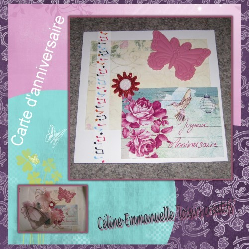 Carte anniversaire scrap papillon