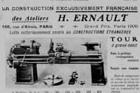 Ateliers Ernault, 169 rue d'Alésia Paris - 1908 Machine-outil