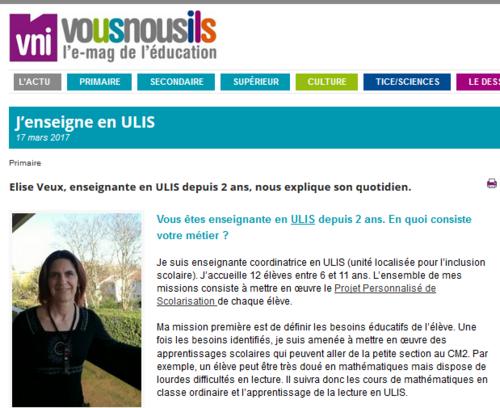 Présentation du dispositif ULIS école dans VousNousIls