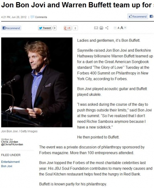 Jon Bon Jovi and Warren Buffett team up for song, june 28 2012