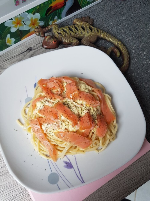 spaghetti carbonara saumon fumé ww
