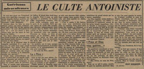 Guérisons miraculeuses - Le culte antoiniste (Le Journal, 4 fév 1938)