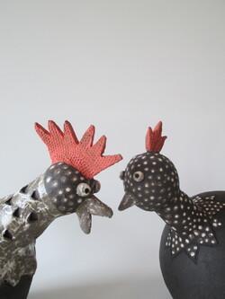 le coq et la poule-grès noir-Michel Cornut