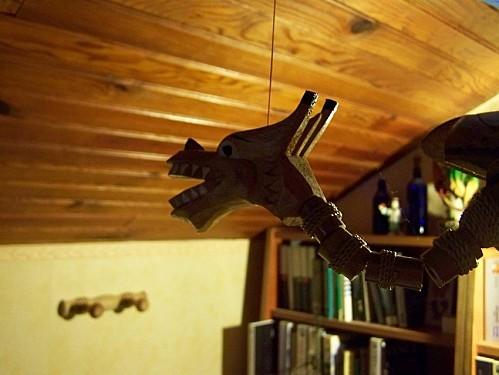 dragon pantin de bois suspendu