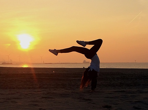 Image de balance, beach, and sunset
