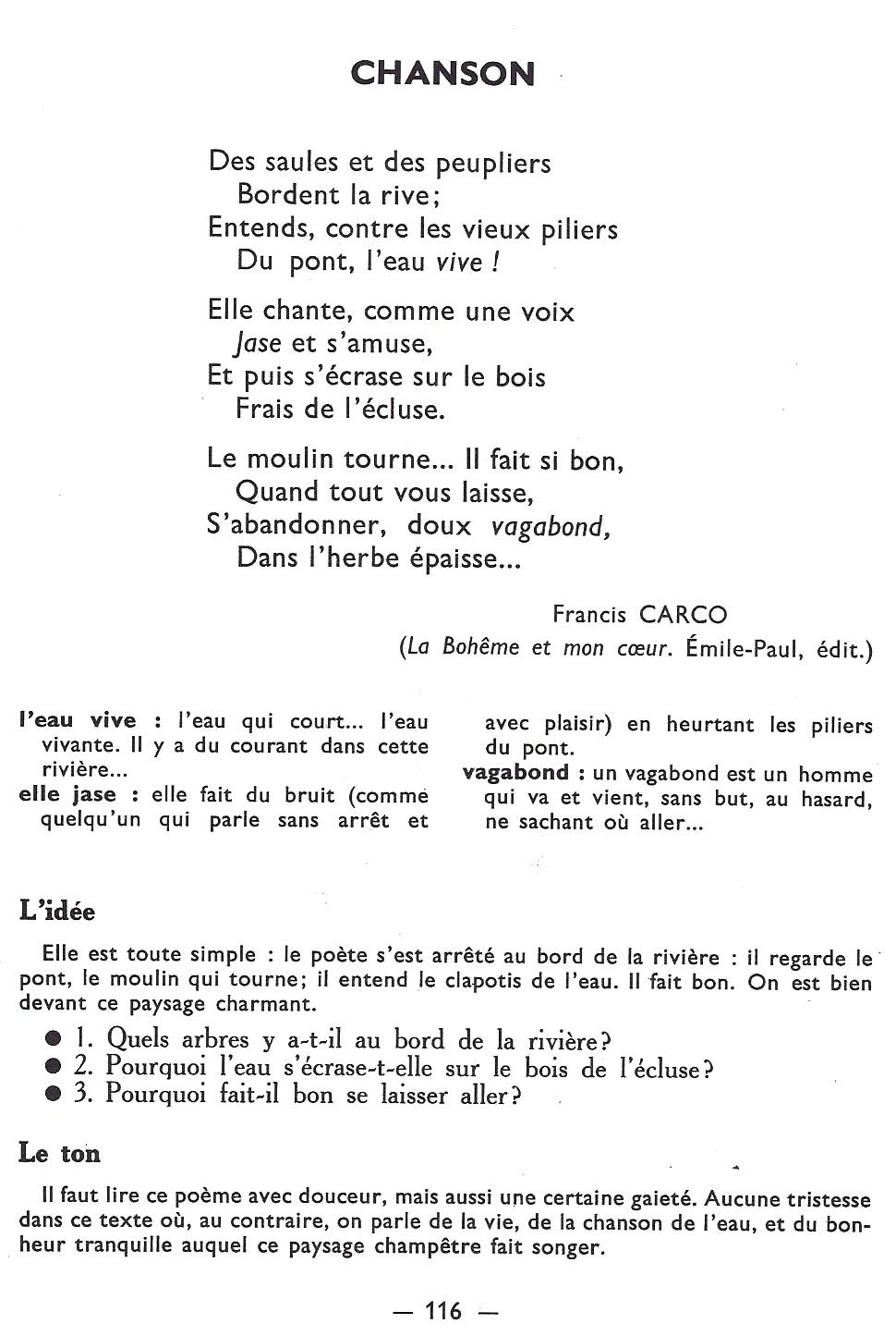 Chanson Poème De Francis Carco Littérature Au Primaire
