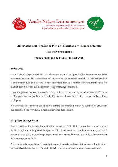 Sur le projet de plan de prévention des risques littoraux de l'île de Noirmoutier.
