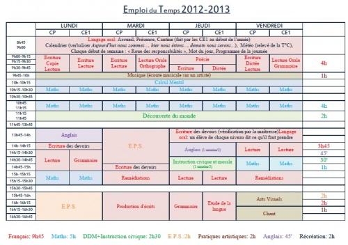 Emploi du temps CP-CE1 2012-2013