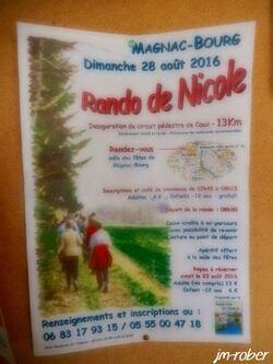 """MAGNAC BOURG: Ce Dimanche 28 Août 2016 ,c'était la traditionnelle Rando de Nicole avec une nouveauté """" le circuit pédestre de CAUX"""" et son inauguration"""