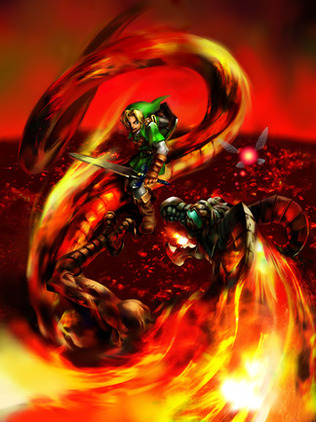 Link battles Volvagia in the Fire Temple - <i>Ocarina of Time 3D</i>