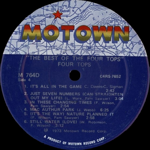 """The Four Tops : Album """" The Best Of The Four Tops """" Motown Records M 764D [ US ]"""