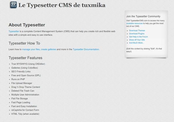 Installer Typesetter CMS sur Debian Stretch
