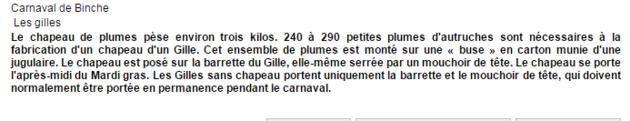 LE CARNAVAL de BINCHE  :BELGIQUE.
