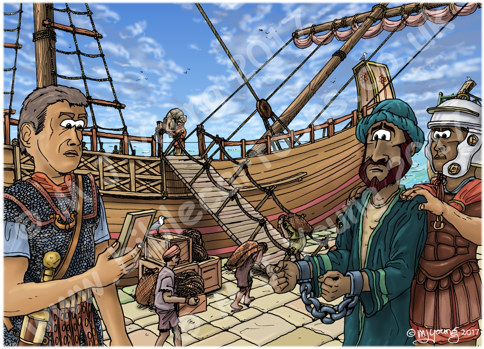 Acts 27 - Paul sails for Rome - Scene 01 - Centurion Julius 980x706px col