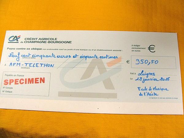 Le Téléthon de Laignes a rapporté 950,50 euros à l'AFM-Téléthon !