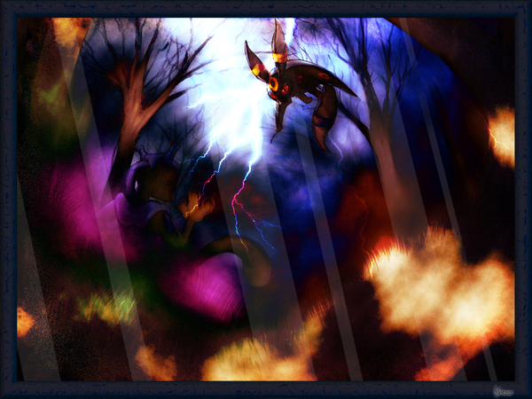 Wallpaper Mewtwo vs Noctali