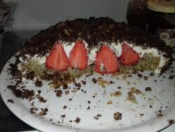 Motte de chocolat fourrée aux fraises